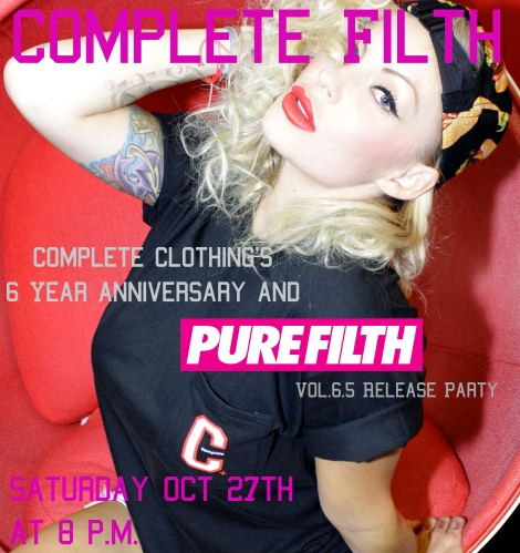 PUREFILTH Magazine and Complete Clothing Party Flyer